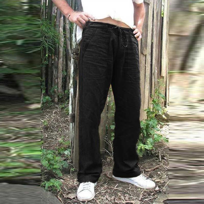 Men/'s Summer Loose Pants Simple Solid Color Linen Trousers Long Outwear Pants