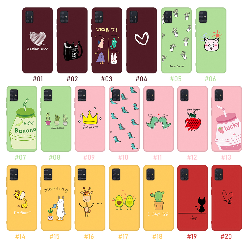 Phone Case For Samsung Galaxy A51 A71 Cartoon Soft Silicone Frosted Back Cover For Samsung A 51 A 71 A515 A715 Candy Color Coque
