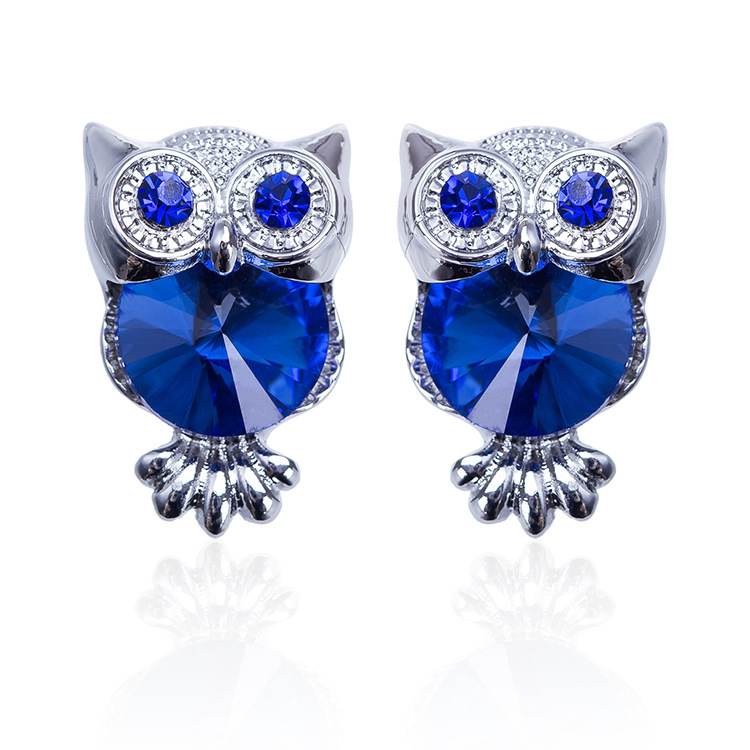 Fashion New Owl Earrings Women Europe And The United States Popular Zinc Alloy Colorful Zircon Animal Modeling Jewelry 2019 Hot