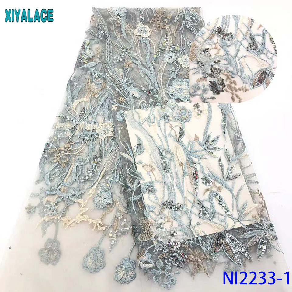 African Lace Material 2019 High Quality Embroidery French Tulle Lace Fabric With Sequins For Wedding Dress KSNI2233-1