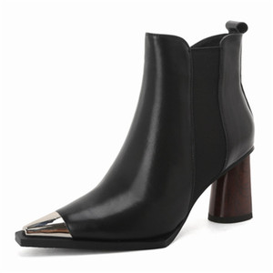 Image 2 - MORAZORA 2020 yeni varış kadın yarım çizmeler yüksek topuklu hakiki deri ayakkabı Metal kafa toe zip sonbahar kış patik kadın