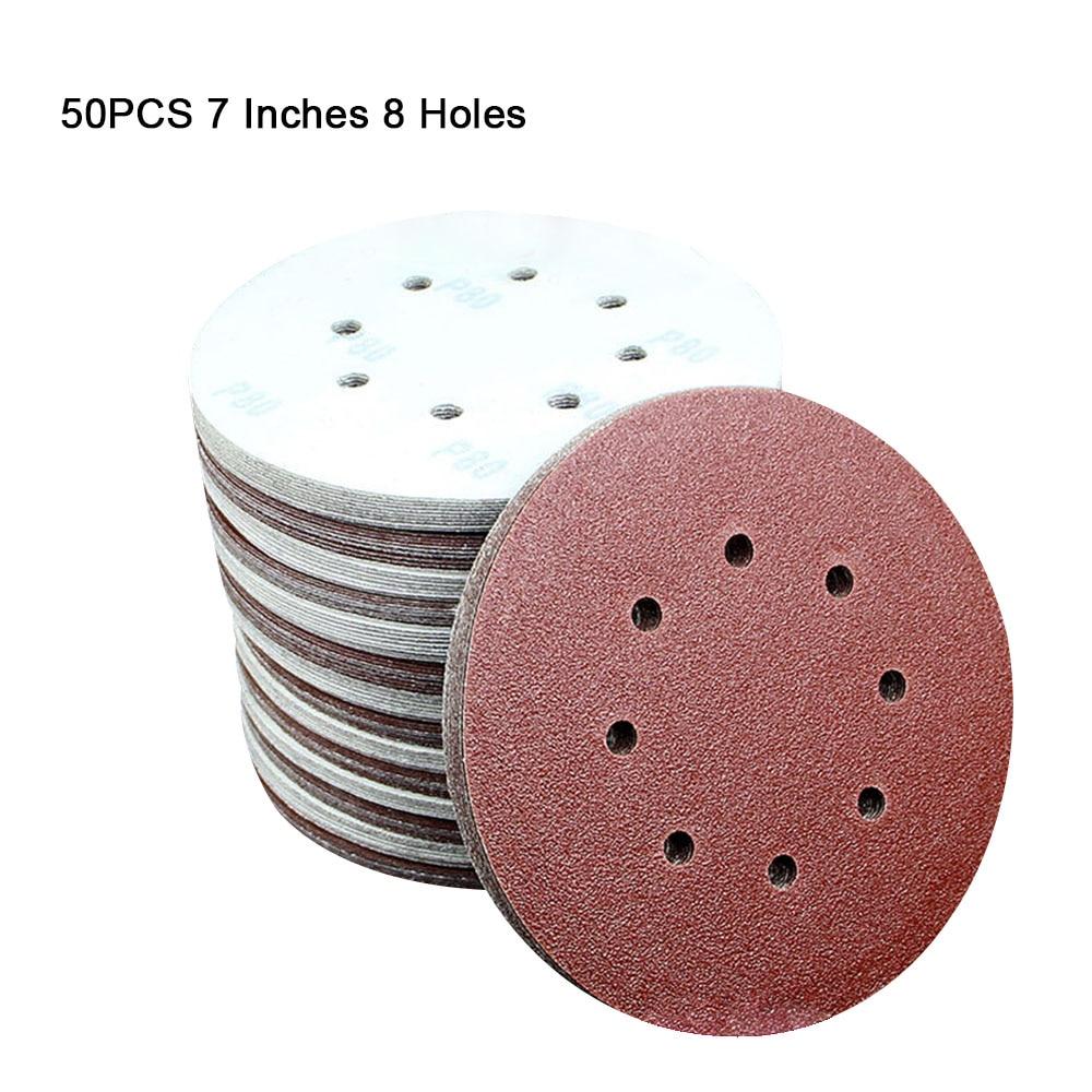 50PCS 7 Inch 8 Holes Sanding Discs Assorted Sandpaper Hook And Loop Grit Assorted For Random Orbital Sander