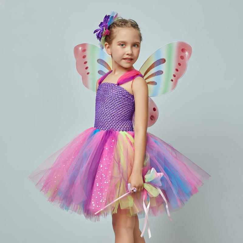 Girls Butterfly Fairy Fancy Tutu Dress Wings Costume Kids Princess Birthday Party Dress Halloween Cosplay Kids Spring Tulle Dress (7)