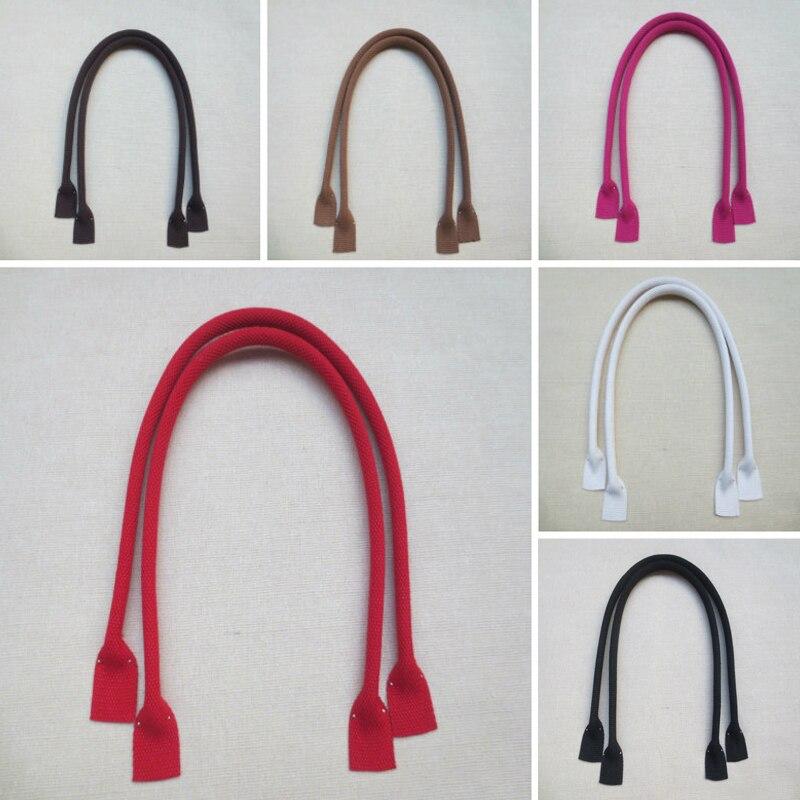 1 Pair 60cm Canvas Bag Strap Handle Rope Bags DIY Shoulder Handbag Accessories Round Ears PU Leather Belts Replacement Bag Strap