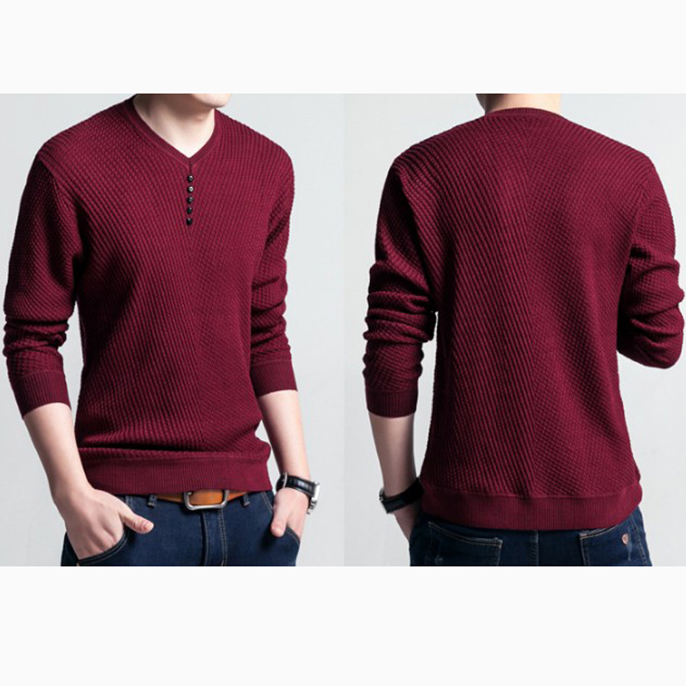 Chic Autumn Winter Sweaters Men Solid Color V Neck Long Sleeve 2020 Pullover Knitted Pull Sweater Mens Sweaters Male Knitwear