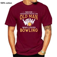 Plus szie Nice Short-sleeved Never Underestimate An Old Man Who Loves Bowling T Shirt Man New Short Sleeve