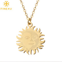 FINE4U N315 Stainless Steel Sun and Moon Face Pendant Necklace Gold Color Sun Moon Celestial Face Jewelry