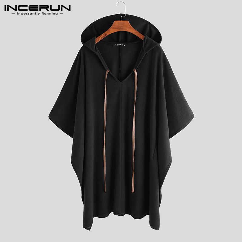 INCERUN moda mężczyźni płaszcze z kapturem jednokolorowe peleryna Poncho 2020 luźne V Neck Streetwear płaszcz nieregularne mężczyźni długi wykop S-5XL