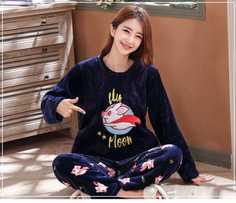 Long Sleeve Warm Flannel Pajamas Winter Women Pajama Sets Print Thicken Sleepwear Pyjamas Plus Size 3XL 4XL 5XL 85kg Nightwear 375