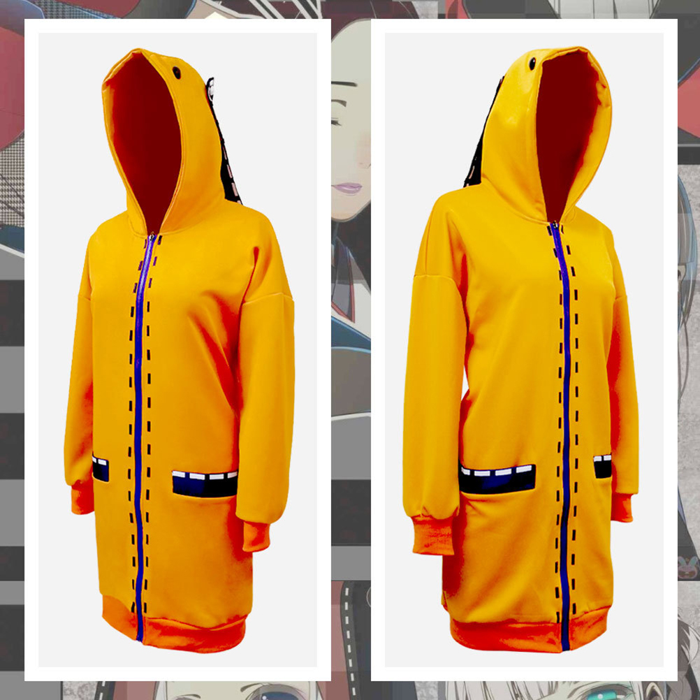 Anime Cosplay Costume Clothings Anime Yomoduki Runa Cosplay Costume For Girls Women Orange Coat Hoodies Zip Jacket Coat 2
