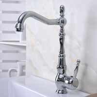 Latão polido Chrome Único Punho Um Buraco Bacia Banheiro Kitchen Sink Faucet Bica Giratória Torneira Misturadora mnf931