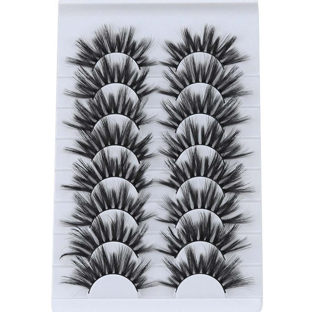8 Pairs 5D Mink False Eyelashes Natural Soft Mink Lashes Wispies Fake Eyelash Extension Full Volume Thick Cross Lashes Makeup