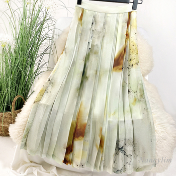 Skirt Women Gradient Blooming Splashed Ink Printing Pleated Female 2020 Fashion Printed Skirts Lady Chic