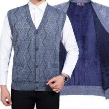 Мужской свитер больших размеров s, жилет, пальто для мужчин, толстый кардиган без рукавов с v-образным вырезом, Мужской Повседневный шерстяной вязаный свитер, пальто осень-зима