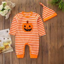 Get more info on the Halloween Clothes Toddlers Baby Girl Clothes Pumpkin Stripe Romper Bodysuit+Hat Set 9.12