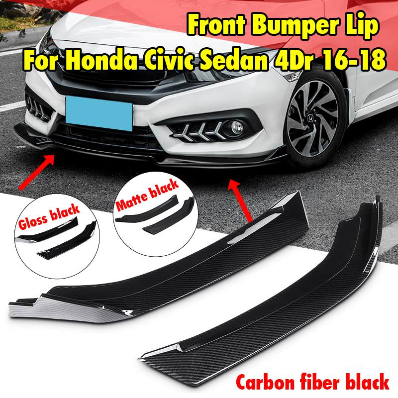 New 2pcs Universal Car Front Bumper Lip Splitter Diffuser Lip Splitters Spolier For Honda For Civic Sedan 4Dr 2016 2017 2018