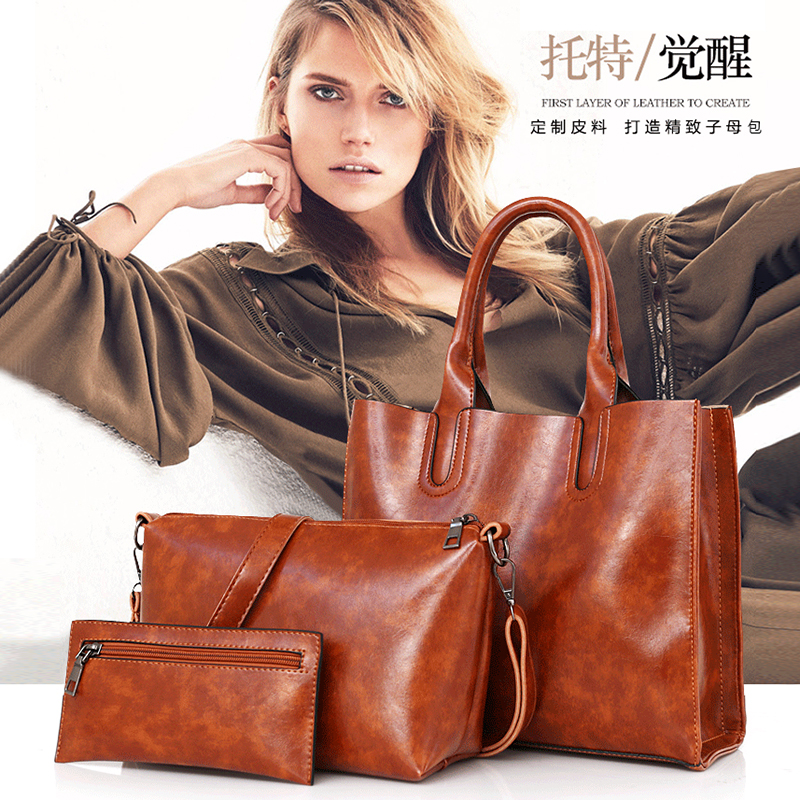 2019 new minimalistic and stylish one-shoulder casual bag for girls women handbag pu leather mother bag three-piece tote bag