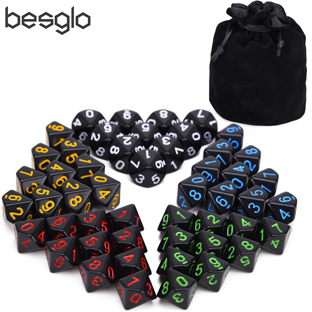 50pcs D10 Opaque Black With Dice Pouch For Tabletop RPG World Of Darkness Vampire