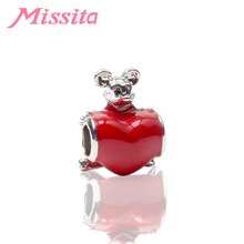 MISSITA Cute Mickey Red Heart Charm fit Pandora Women Bracelets Necklaces for Jewelry Making Ladies Jewelry Accessories Gift цены