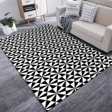 Black and white color irregular splice carpet bedroom plush rug living room door mat bathroom non-slip floor custom made