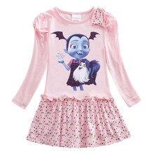 Новое осеннее платье для девочек, кружевное мультяшное платье с длинными рукавами, юбка с бантом, детская юбка от 3 до 10 лет, топ с узором, ...