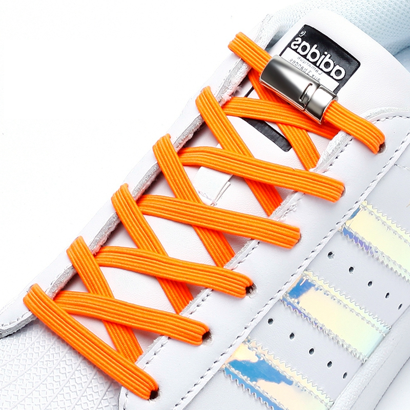Elastic Shoelaces Magnetic Fashion Convenience Metal Locking Lazy Laces Outdoor Sneakers Quick Flat No Tie Shoelace 1 Pair