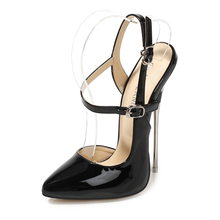 Patent Leather 16CM Pointed Toe Thin Heel Pumps