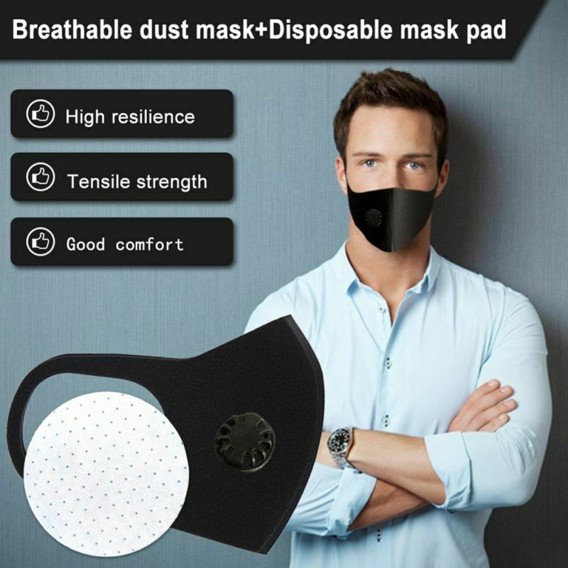 PM2.5 Black Mouth Mask Anti Dust Mask Activated Carbon Filter Windproof Mouth-muffle Proof Flu Face Masks Care Unisex