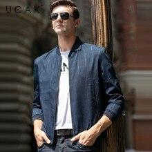 UCAK Brand Men Clothing Streetwear Clothes jacket Fashion Plaid Blouson Homme Casual Jacket Spring New Arrival Zipper Coat U8077