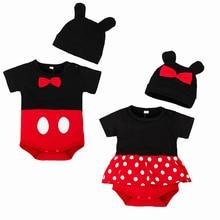 Unisex Cartoon Infant Cotton Clothing Summer Short Sleeve Jumpsuit Muslin Baby Girls Rompers+Hat Suit Set Kids Climbing Suits