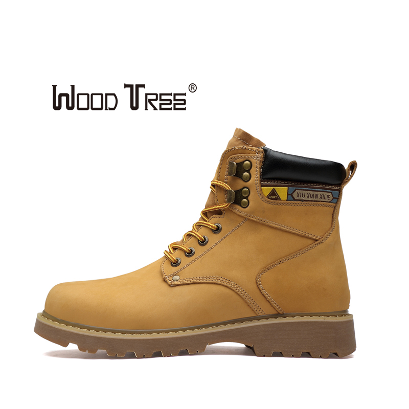 WOODTREE Travel Military Boots Hiking Shoes Genuine Leather Casual Shoes Martin Outdoor Sneakers Male Non-slip Desert Boot
