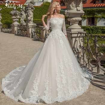 Adoly Mey Charming Boat Neck Three Quarter Sleeve A-Line Wedding Dresses 2020 Gorgeous Appliques Court Train Vintage Bridal Gown