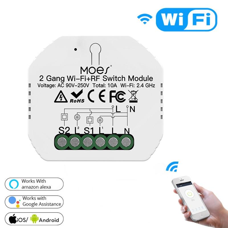 2 способа двойной Управление, Wi-Fi + RF433 умный светильник Модуль автоматического включения света приложение Smart Life/приложение Tuya дистанционно...