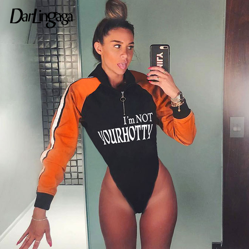 Darlingaga Streetwear Autumn Hooded Body Long Sleeve Bodysuit For Women Jumpsuit Zipper Panelled Letter Casual Bodysuits Clothes