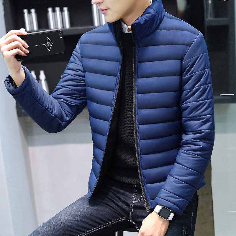 Winter New Style Men Stand Collar Thick Solid Color Down Jacket Cotton-padded Clothes Youth Versatile Casual Solid Color Large S