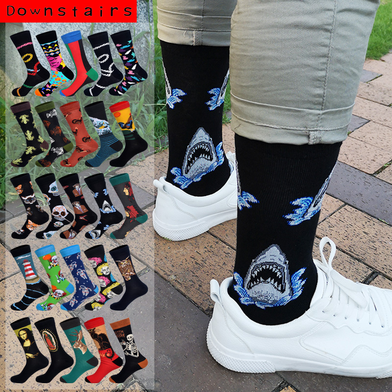 Downstairs Streetwear Happy   Socks   Men BritishStyle Hip Hop Shark Einstein Jesus 25 Colors Harajuku Art Designer Men   Socks   Cotton
