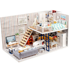 Wooden Dollhouse Fashion Doll House Furniture Girls Toy DIY Toys for Children Big Castle Handmade Kids Gift Doll House Large sylvanian families house diy french coffee trip handmade house wooden toy crafts for children toys for girls juguetes brinquedos
