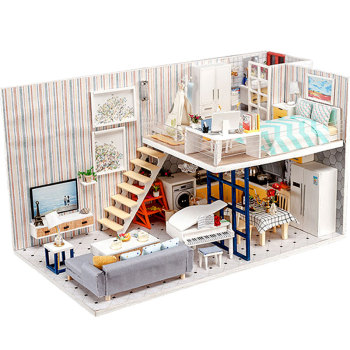 Wooden Dollhouse Fashion Doll House Furniture Girls Toy DIY Toys for Children Big Castle Handmade Kids Gift Doll House Large sylvanian families house diy dollhouse handmade building toys birthday gift dolls house furniture kids toy juguetes brinquedos