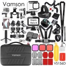Vamson cho GoPro Bộ Phụ Kiện cho Go Pro Hero 8 Màu Đen Chống Thấm Nước Ốp Lưng Ba Lô Kẹp cho GoPro 8 Hành Động camera VS156