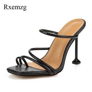 Image 3 - Rxemzg pantoufles dété pour femme, tongs dété à bout carré, sandales à talons hauts sexy imprimé serpent