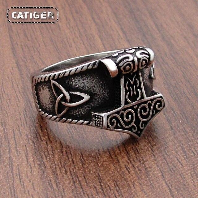 Darmowa wysyłka stal nierdzewna 316L nowy pierścień Viking Mjolnir młot thora Celtics węzeł pierścienie męskie Nordic biżuteria Amulet