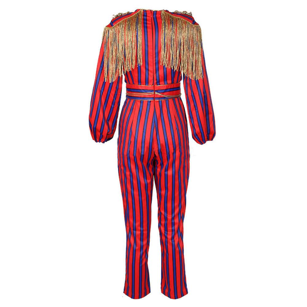 Meqeiss nowy z wybiegu Fringe kombinezony dla kobiet 2020 impreza celebrytów kombinezon z długim rękawem czerwone i niebieskie paski kombinezon z cekinowymi pomponami body