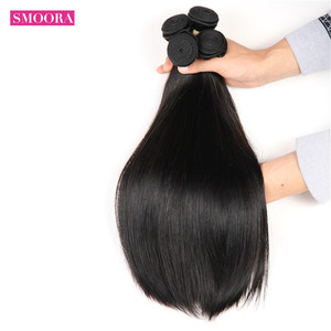Smoora 8-28 inch Brazilian Hair Weave Bundles Straight 100% Non-Remy Human Hair Bundles 1 3 4 Pieces /Lot Natural Color