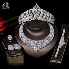 Ladies Necklace Jewelry-Set Crown Dubai Bridal Wedding Cubic-Zirconia Golden Wedding-Anniversary-Accessories