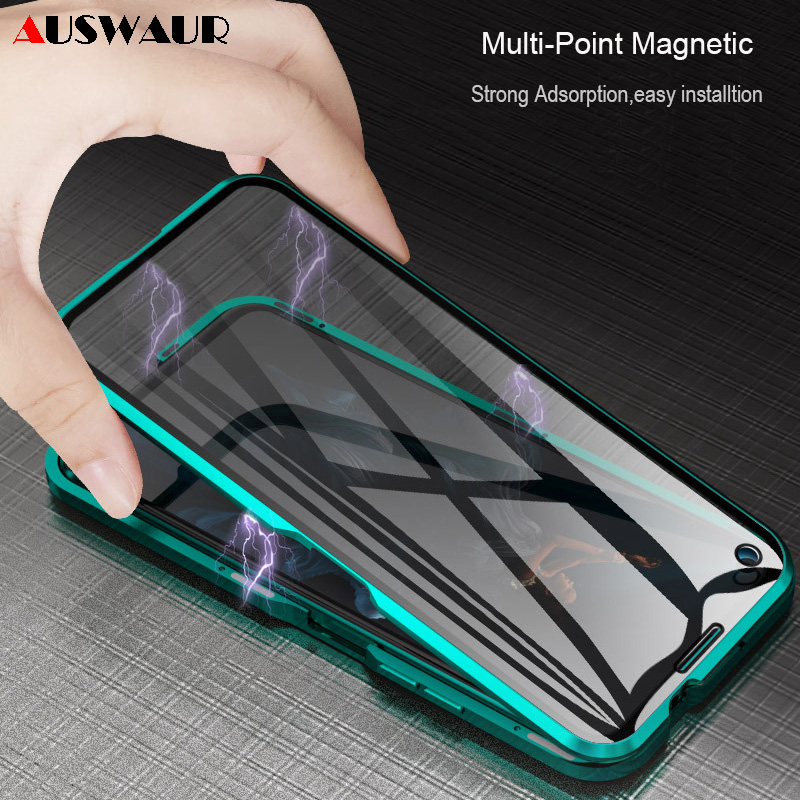 Double Tempered Glass <font><b>Magnetic</b></font> Metal Frame Phone <font><b>Case</b></font> for Huawei <font><b>Honor</b></font> Note 10 20S 9I Lite V20 V10 V30 V9 <font><b>8X</b></font> 9X MAX Pro Play 3E image