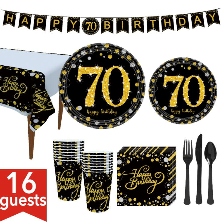 8pcs/lot Gold gold <font><b>70</b></font> years old disposable tableware straw plate napkins <font><b>birthday</b></font> Christmas <font><b>party</b></font> decoration supplies for home image