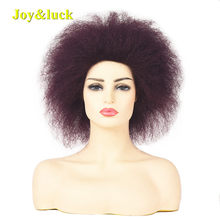 Joy&luck Short Afro Kinky Curly Wig Black Color Synthetic Wigs for Women Cosplay Wig Yaki Straight Hair Style(China)