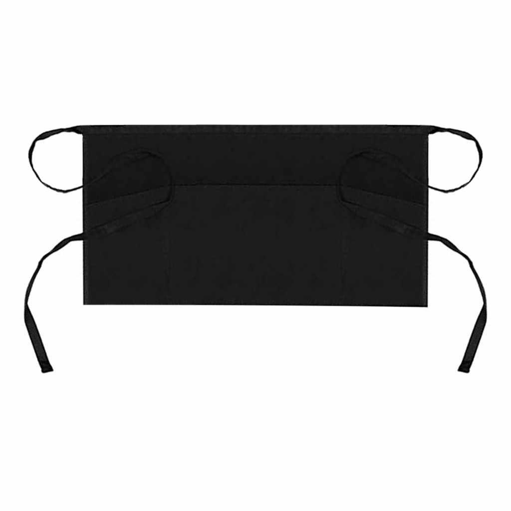 1/3pcs שחור חצי סינר מסעדת מלצרית שף סינר קצר מותניים בר ביתי ניקוי סינר 3 כיסים קשת עניבת קרפט # F5