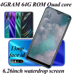 4G RAM Android Mobile phone A80 6.26 inch 64G ROM 13mp HD Camera Water Drop Full Screen Quad Core Face ID Unlocked Smartphones