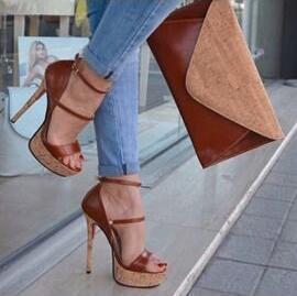 Трендовые женские босоножки на коричневом каблуке женские модельные туфли на платформе с открытым носком, с вырезами, с пряжкой и ремешком ... - 5
